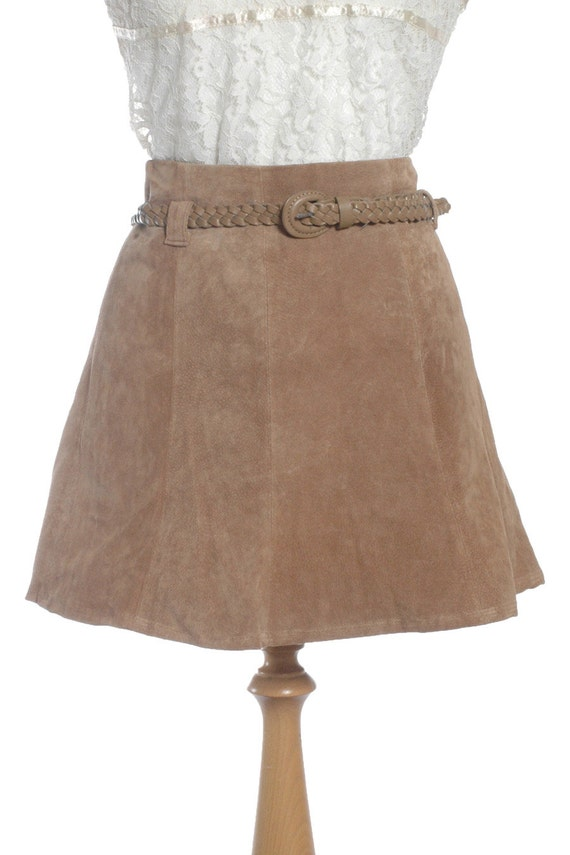 Vintage Brown Suede Mini Skirt W28 12 - www.brickvintage.com