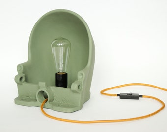 INDUSTRIAL LAMP - made from a vintage water bowl. Loft lighting. Dutch cast iron lamp. Floor lamp, table lamp, desk lamp, Edison wall light.