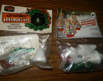 Vintage Christmas Ornament Kit TREES Beaded Sequins NEW Designer Collection