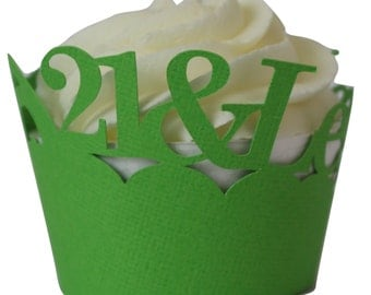 Grass Green  21-&-Legalized Cupcake Wrappers, Set of 12, Birthday, Green Texture, Cupcake Decor, Handcrafted Party Decor, Party Supplies