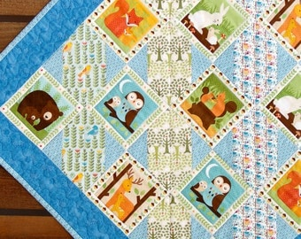 Baby Quilt, Organic Cotton, Forest Parade, Woodland Animals, Made in USA