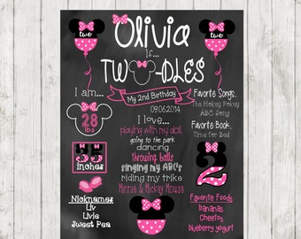 Printable Minnie Mouse Chalkboard, Second Birthday Chalkboard, Twodles chalkboard, Birthday Sign, Minnie Mouse Twodles, 2nd Birthday