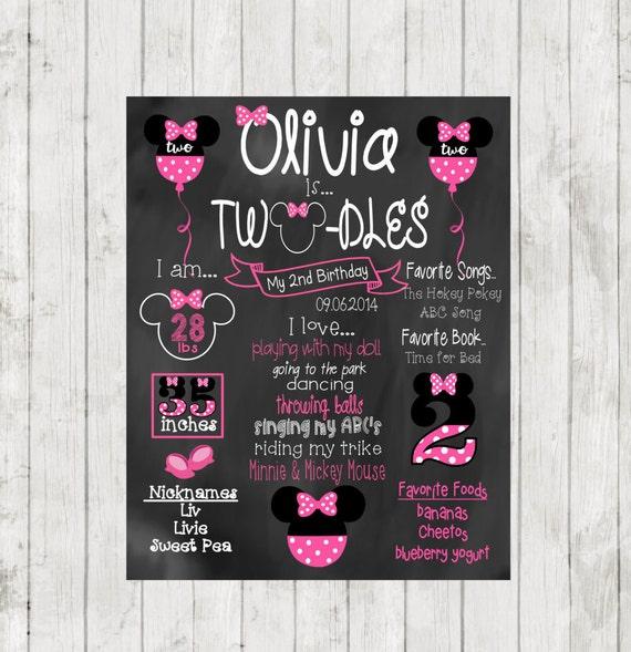 Printable Minnie Mouse Chalkboard Second Birthday Chalkboard