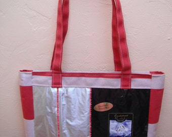 SALE Coffee Bags and Red White Fabric Bag Purse Tote Recycled Upcycled Repurposed