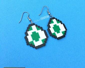 Yoshi Egg Earrings Super Mario Bros 8 bit Pixel Art Video Game Jewelry Gamer Earrings
