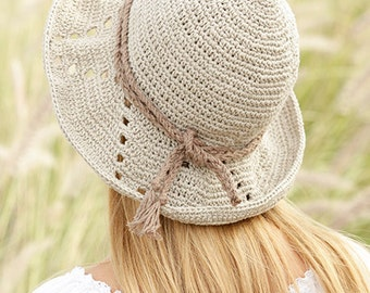 Cotton hat, linen hat, spring summer hat, cotton, beach hat, crocheted hat, 100% HAND MADE