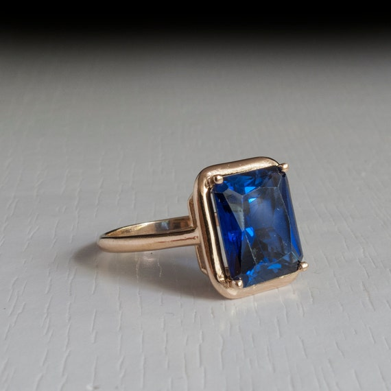 Blue Sapphire ring Sapphire Band Vintage rectangle