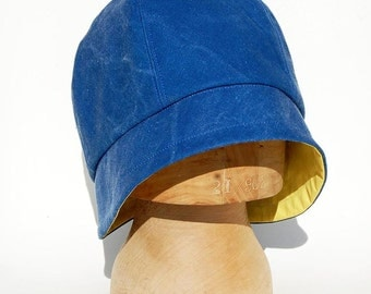 Blue cloche hat made of French workwear fabric|©ZUTmathilde designer rain hat| Cloche hat