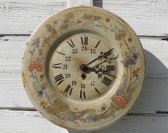 antique toleware wall clock, French tole clock, French clock, vintage clock, wall clock, French vintage, country home, country cottage