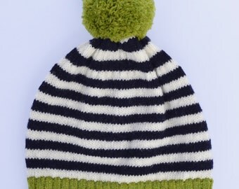 Lambswool knitted Hat with stripes, green pompom