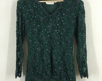 Vintage Beautiful Laurence Kazar Emerald Green Beaded Lace and Sequin Evening Blouse Size Small India