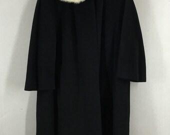 Vintage Benmore New York Paris Fur Trim Wool Coat Union Made Size Medium