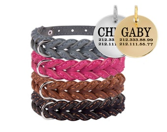 Leather Braided Dog Collar with Optional Personalized ID Tag Handmade Black Brown Puppy Small Medium