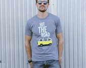 Men's T-shirt. Heather gray short sleeve t-shirt for men and women. Hit the Road. Travel - Wanderlust - Adventure T-shirt. Men's Clothing