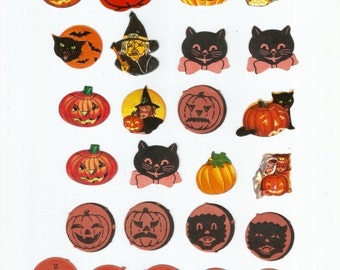 Vintage Halloween seals stickers JOL pumpkin witch black cat bat trick or treat collage digital download printable instant image