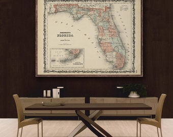 """Map of Florida 1862, Vintage Florida map reprint - 4 large/XL sizes up to 48""""x36""""- in original or blue or black"""