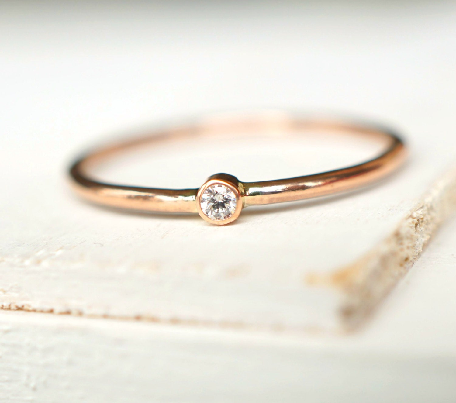 Diamond Ring Rose Gold Ring Engagement Ring Baby By Luxuring