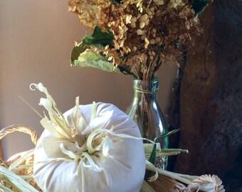 White Stuffed Pumpkin, One Fabric Pumpkin, Decorative Pumpkin Shelf Sitter, Thanksgiving Decor, Harvest Decoration, White Centerpiece Fall
