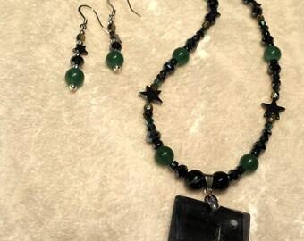 Calling Down the Moon, Mickie Mueller Artwork, Pendant, Green Adventurine, Hematite, Black Onyx, Blue Tiger Eye, Crystal Jewelry  Set