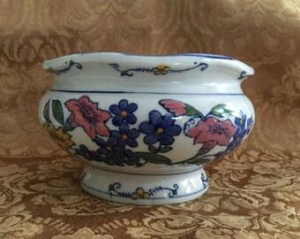 Floral Porcelain Planter, Cobalt Blue Accent Color, AAA Imports, Cobalt Blue Rim, Glazed Planter, Wavy 6 inch Rim, 1980s