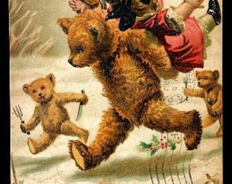 1908 Artist Signed Greiner Teddy Bear Postcard