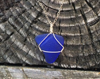 Sterling Silver Cobalt Blue Seaglass Necklace