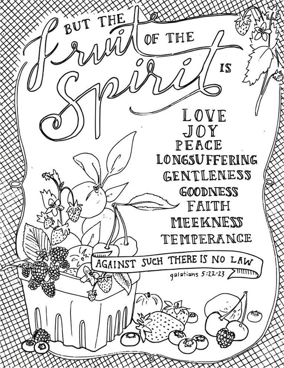 scripture coloring page adult coloring fruit of spirit galatians bible verse bible journaling meditation christian religious