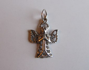14k White Gold Angel Charm .90g