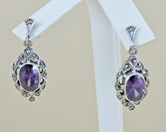 Sterling Silver And 4.0ct. Each Oval Purple Rhinestone And Marcasite Dangle Earrings