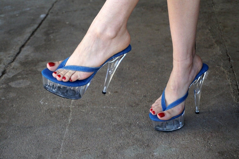 Vip 6 Inch Denim Thin Thong Mule High Heel Platform Sandal