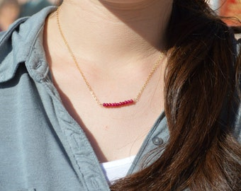 Ruby Necklace, Gem Bar, Dainty 14k Gold Fill, Sterling Silver, Rose Gold, Red Necklace, Faceted Ruby, Bar Necklace, Gold Ruby Necklace