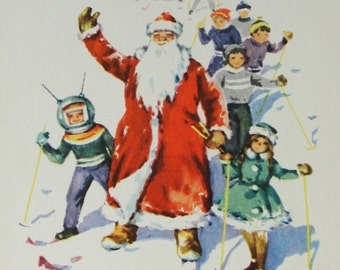 Happy New Year! Vintage Soviet Postcard. Illustrator Dostyan - 1966. USSR Ministry of Communications Publ. Children, Santa Claus, Skiing