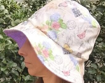 Paris, butterfly and flowers in white Women's Hat Reversible Bucket hat. Bucket hat. Beach hat. Sun Hat.