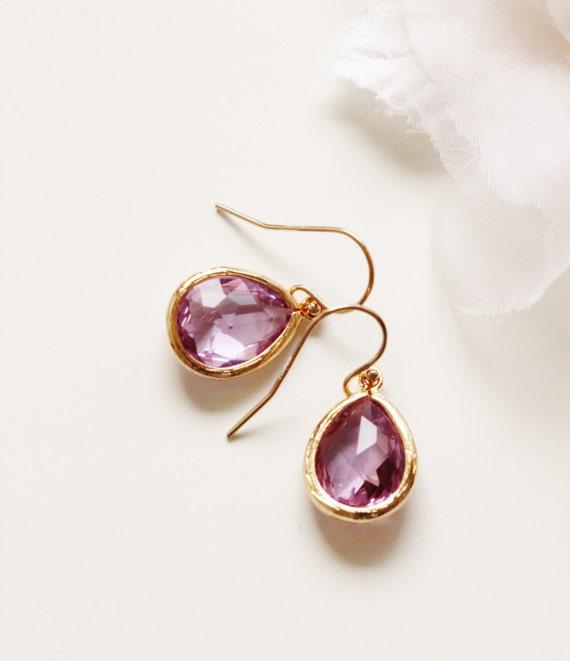 lilac purple earrings lavender purple wedding bridesmaid gift