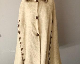 Vintage Poncho Cape Womens 70s Boho Crochet