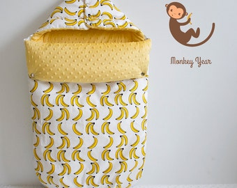 Cotton baby stroller footmuff Banana on White, foot muff, baby envelope