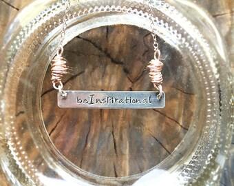 Custom Engraved+Rose Gold+Bar Length Necklace/ byMinCali