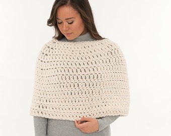 Chunky Knit Wool Shawl, Crochet Shrug, Sweater, Poncho, Capelet, Women's Warm Soft Knitted, Winter Wedding Crocheted Accessory