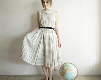 Vintage 1950s Inspired Striped Dress/70s Does 50s/Large