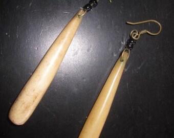 Vintage primitave polished horn pierced earrings