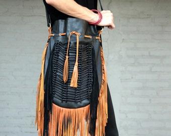 Fringe leather bag, boho leather purse black with tan fringes and black bone choker, large size