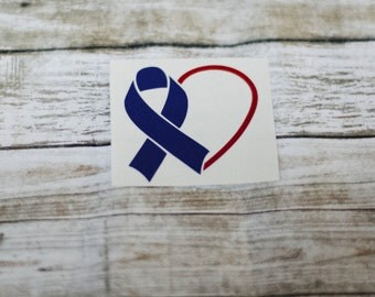 Awareness Ribbon Half Heart Decal / Monogram sticker / yet cooler monogram decal / laptop decal / car decal /circle monogram