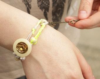 Threaded Wrap Yoga Bracelet – Neon Yellow - 00007