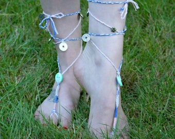 Barefoot Sandals, Foot Jewelry, Ankle Jewelry, Beach Jewelry, Braided Gypsy Barefoot Sandals - 00010