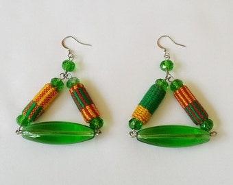 Kente Earrings, Ghana Kente Earrings, African Kente Fabric Earrings, Ethnic Jewellery, Tribal Earrings, Green Fabric Jewellery, Easter Gift