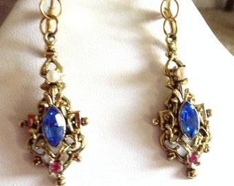 Vintage Dangle earrings,vintage gold drop earrings,, repurposed vintage