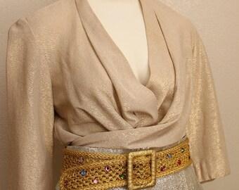 Vintage 50's Lurex Gold Rhinestone Gem Belt- VLV, Elvis, Bond Girl, Vegas, OOAK