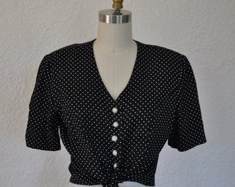 Black and white Polka dot Button-Up Top