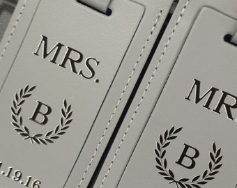 High end personalized  leather Mr. and Mrs. bag tag set. A great wedding or anniversary gift. Simply stunning.