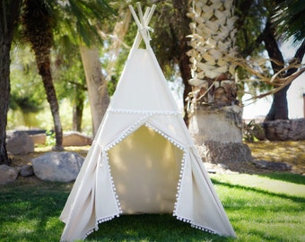 Pompom teepee, kids Teepee, tipi, Play tent, wigwam or playhouse with canvas and Overlapping front doors
